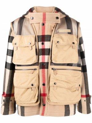 Клетчатая куртка со съемным жилетом Burberry. Цвет: нейтральные цвета