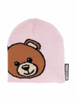 Шапка бини с логотипом Moschino Kids. Цвет: розовый