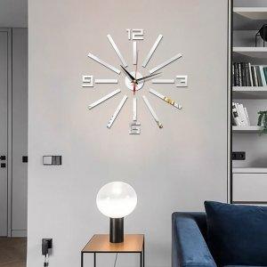 Настенные часы с зеркальной поверхностью в форме цифры SHEIN. Цвет: серебряные
