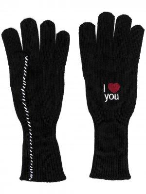 Перчатки с вышивкой Raf Simons. Цвет: черный