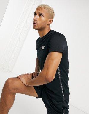 Черная футболка с кантом и логотипом Football-Черный New Balance