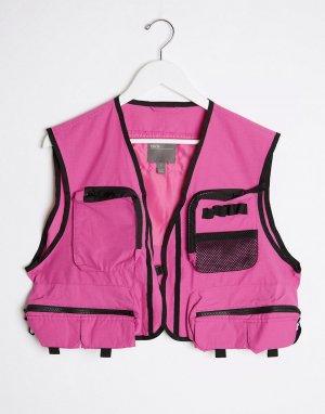 Розовый короткий жилет от комплекта -Розовый цвет ASOS DESIGN