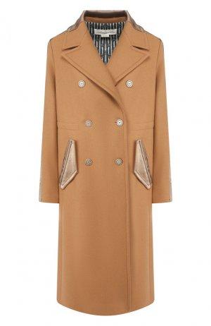Двубортное пальто Golden Goose Deluxe Brand. Цвет: бежевый