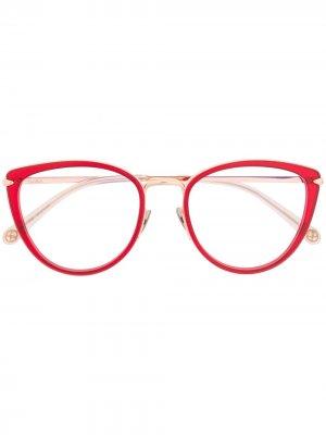 Очки в круглой оправе Pomellato Eyewear. Цвет: красный