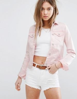 Джинсовая куртка Hollister. Цвет: розовый
