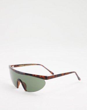 Коричневые солнцезащитные очки в стиле унисекс с широким козырьком черепаховой полуоправе Move 2-Коричневый цвет A.Kjaerbede