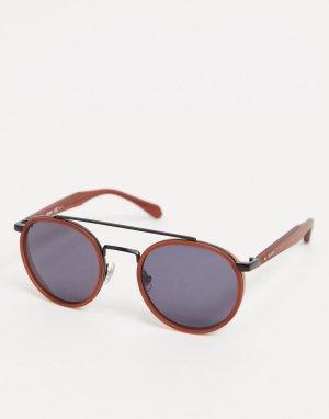 Круглые солнцезащитные очки в красной оправе с металлической переносицей -Коричневый Fossil