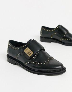 Черные кожаные монки с заклепками -Черный ASOS DESIGN