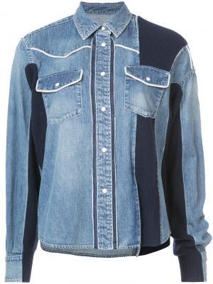 Джинсовая куртка с панельным дизайном Sacai. Цвет: синий