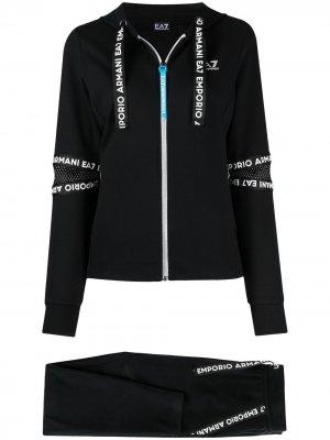 Спортивные брюки с логотипом Ea7 Emporio Armani. Цвет: черный