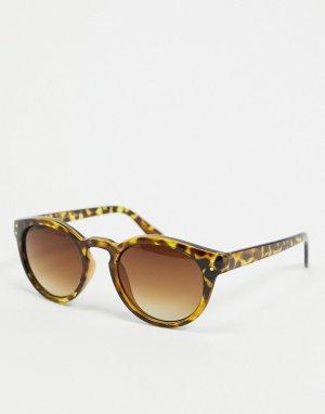 Круглые черепаховые солнцезащитные очки -Коричневый цвет AJ Morgan
