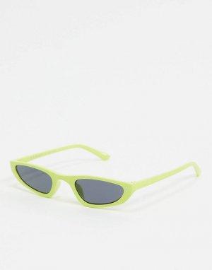 Солнцезащитные очки в узкой зеленой оправе -Зеленый AJ Morgan
