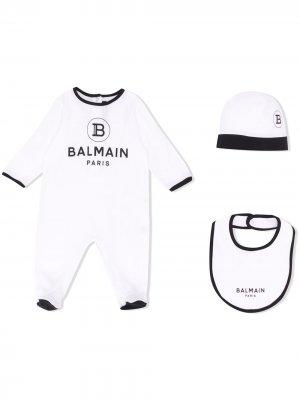 Комплект для новорожденного с логотипом Balmain Kids. Цвет: белый