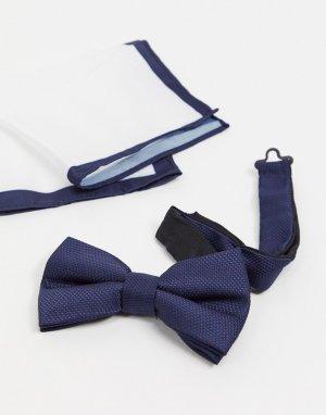 Темно-синий фактурный галстук-бабочка и платок для нагрудного кармана Moss London BROS