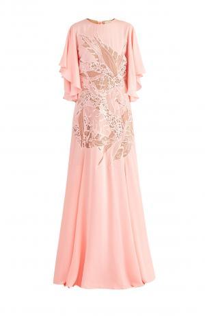 Вечернее платье с рукавами-крылышками и кружевными вставками ELIE SAAB. Цвет: розовый