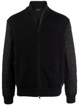 Куртка на молнии с контрастными рукавами Dunhill. Цвет: черный