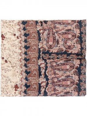 Кашемировый шарф с цветочным принтом Colombo. Цвет: коричневый