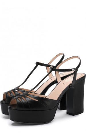 Кожаные босоножки Duo на устойчивом каблуке и платформе Fendi. Цвет: черный