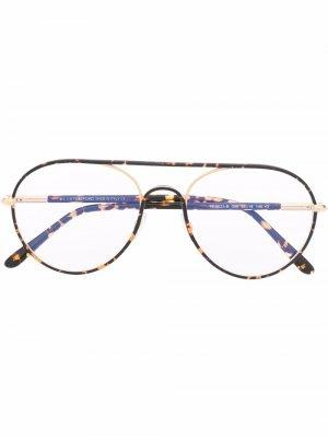 Очки-авиаторы черепаховой расцветки TOM FORD Eyewear. Цвет: черный