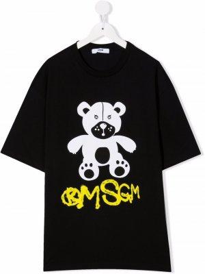 TEEN teddy bear-print T-shirt MSGM Kids. Цвет: черный