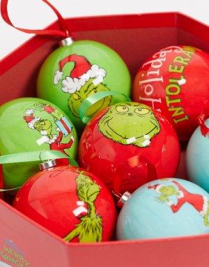 Набор из 7 елочных шаров Гринч Christmas-Зеленый Disney