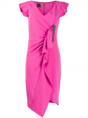 Платье асимметричного кроя с оборками Pinko. Цвет: розовый