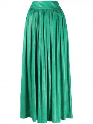 Расклешенная юбка миди со складками Alysi. Цвет: зеленый