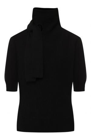 Пуловер из смеси хлопка и шерсти с высоким воротником self-portrait. Цвет: черный