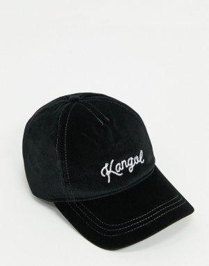 Черная бейсболка с контрастной отстрочкой -Черный Kangol