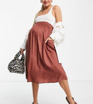 Юбка миди шоколадного цвета с карманами ASOS DESIGN Maternity-Коричневый цвет Maternity