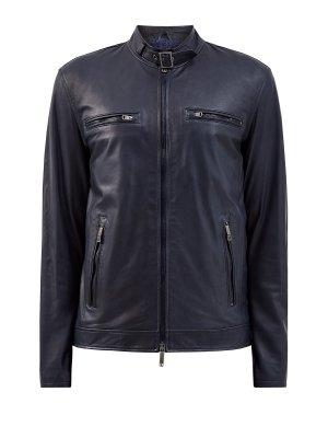 Кожаная куртка в байкерском стиле с массивными застежками ETRO. Цвет: черный