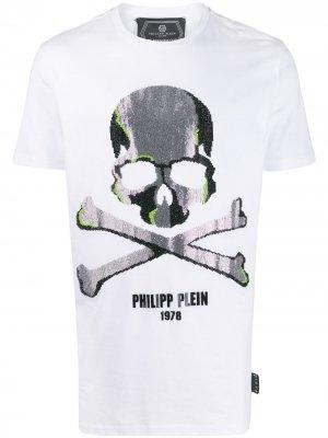 Декорированная футболка с короткими рукавами Philipp Plein. Цвет: белый