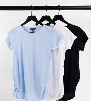 Набор из 3 топов с короткими рукавами и сборками голубого, черного белого цвета -Multi New Look Maternity