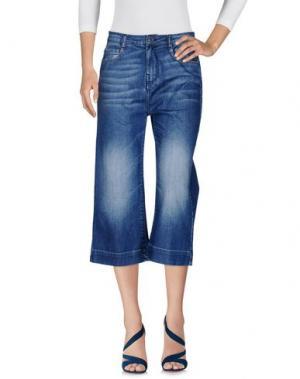 Джинсовые брюки-капри SANDRO FERRONE. Цвет: синий