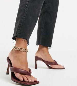 Бордовые сандалии на каблуке с перемычкой Wide Fit Haven-Красный ASOS DESIGN