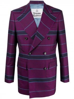 Двубортный пиджак в полоску Vivienne Westwood. Цвет: фиолетовый