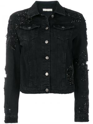 Джинсовая куртка с бисерной отделкой Amen. Цвет: чёрный