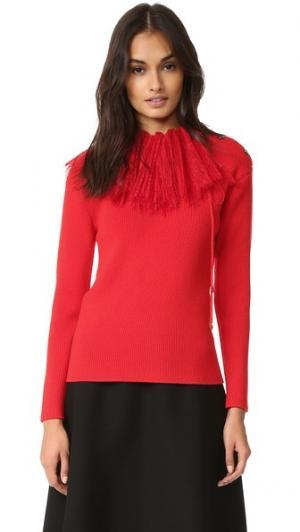 Трикотажный пуловер с длинными рукавами Nina Ricci. Цвет: ярко-красный