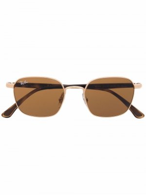 Солнцезащитные очки в квадратной оправе Ray-Ban. Цвет: золотистый