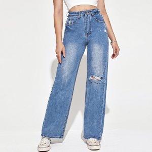 Рваные джинсы SHEIN. Цвет: синий цвет средней стирки