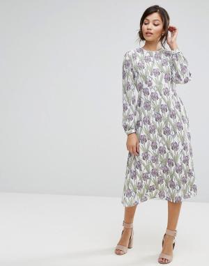 Платье миди с принтом Darling. Цвет: фиолетовый