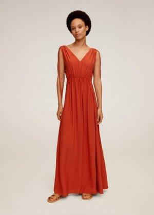 Длинное платье с бантами - Klement Mango. Цвет: оранжевый