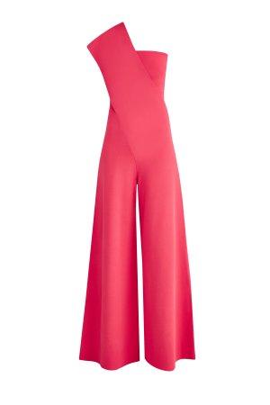 Комбинезон с лифом-бандо из ткани моделирующим эффектом STELLA McCARTNEY. Цвет: розовый