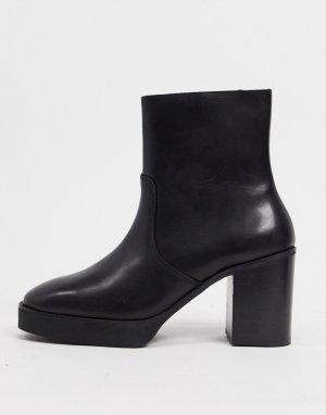 Черные кожаные ботинки челси на платформе и каблуке -Черный ASOS DESIGN