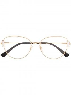 Очки в круглой оправе Moschino Eyewear. Цвет: золотистый