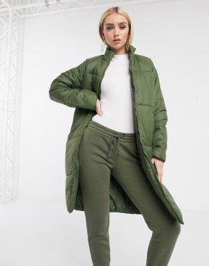 Длинное дутое пальто цвета хаки -Зеленый Converse