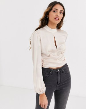 Розовая блузка с небольшим вырезом -Розовый Miss Selfridge