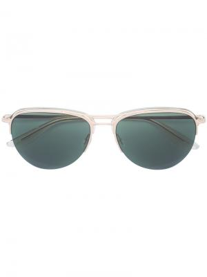 Солнцезащитные очки в круглой оправе Barton Perreira. Цвет: металлический