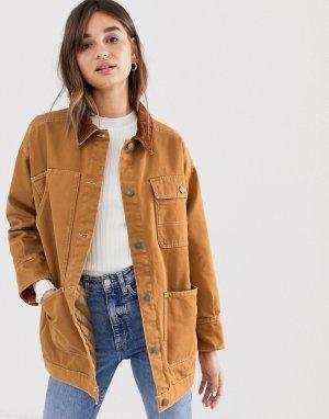 Джинсовая куртка цвета ржавчины со стеганой подкладкой и вельветовым воротником -Желтый Monki