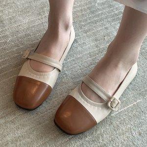 Двухцветные балетки мэри джейн SHEIN. Цвет: многоцветный